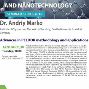 Advanced Materials and Nanotechnology Seminar Series 2018: Dr Andriy Marko